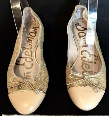 fce5f7d82e6c0 SAM EDELMAN BEV Sz 6.5 M 37 M Nude Gold Suede Leather Ballet Flats ...