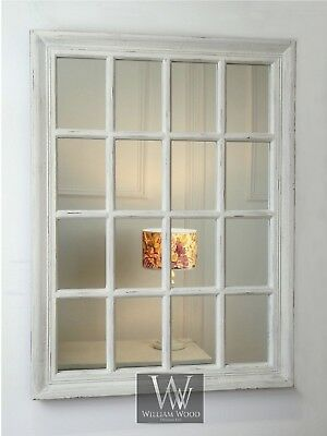 "Provence White Shabby Chic Rectangle Window Wall Mirror 40"" x 28"" (100cm x 70cm)"