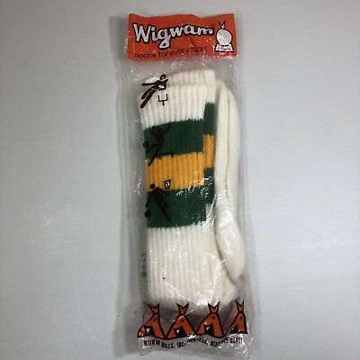 VTG NOS Sealed Wigwam TIGER Green Gold Striped Socks USA 10 1/2-13 Deadstock