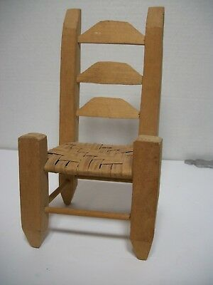 Ladderback Doll Chair Woven Seat 3 Rung Back Primitive Country