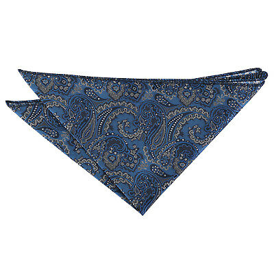 DQT Woven Floral Royal Paisley Blue & Silver Formal Handkerchief Hanky