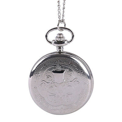 Silver embossed classical fine pattern pocket watch large small shield flip Y7A8