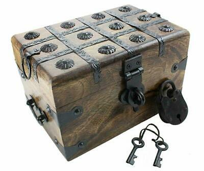 """Well Pack Box Wooden Pirate Treasure Chest 8"""" x 6"""" x 5"""" Medium Authentic"""