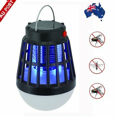 Solar Powered Lamp Night Light Fly Outdoor Insect Bug Mosquito Zapper Killer PS