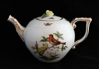 HEREND Hungary Porcelain Rothschild Birds LARGE TEAPOT 44oz. ROSE final