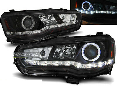 jogo Faros Optica LED diurnas Mitsubishi Lancer 8 Luz do Dia 2008- Preto ES LPMI