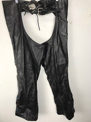 SCREAMIN' EAGLE Leather Motorcycle Riding Chaps Black Size 3XL BRAND NEW