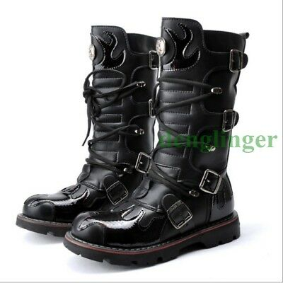 Hot Punk Mens Combat Cowboy Knee High Boots Buckle Lace Up Creeper Shoes Fashion