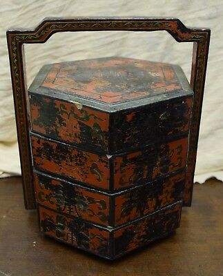 Antique Asian Lacquer Wood Wedding / Lunch Box
