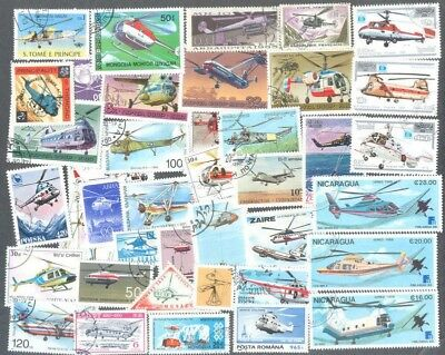 Helicopters - 100 all different stamps  collection-Air Transport