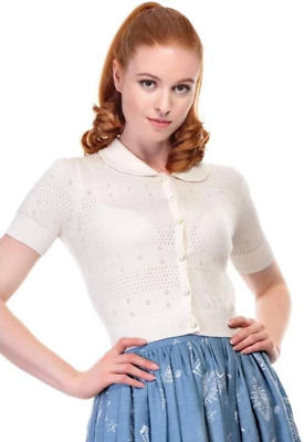 Collectif Carly 1940s Style Ivory Cream Cardigan