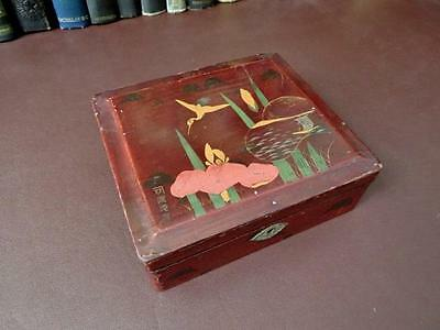 Antique Artist Signed Japanese Box Lake Scene Decoration
