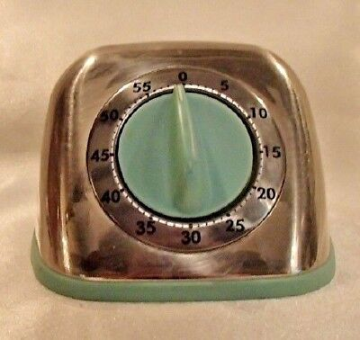 Martha Stewart Collection Retro 60 Minute Timer Turquoise Blue Chrome Look