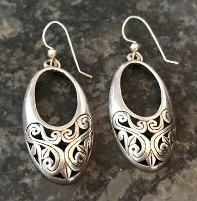 Beautiful Rare Vintage Sterling Silver Filigree Oval Drop Earrings French Wire