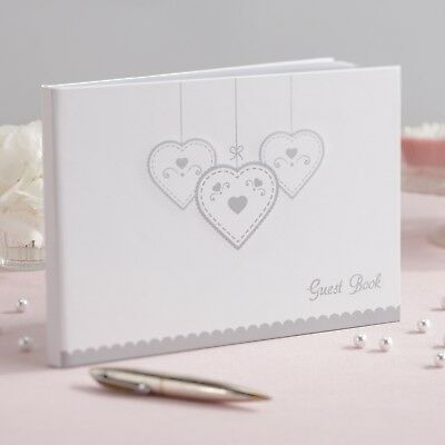 Wedding Guest Book -  White With Silver Hearts Design - Clearance - RRP £14.99