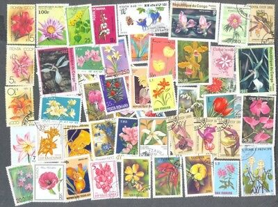 Flowers- 100 all different stamp collection