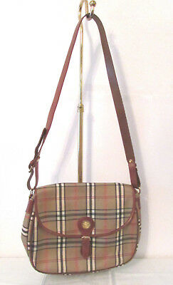 Vintage Pierre Balmain Tan Brown Red Plaid Cross Body Shoulder Bag Handbag EUC