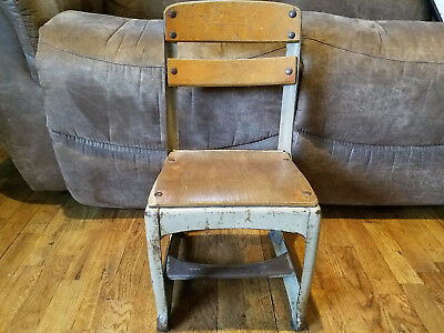 Vintage American Seating School Desk Chair Childs Metal & Wood