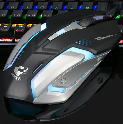 Wired LED Light 3200DPI Optical USB Ergonomic Pro Gamer Gaming Mouse Maus Plate