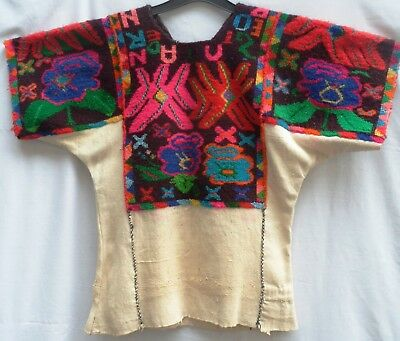 Vintage 60s Guatemalan Mayan Huipil with multi-coloured hand-woven top section.