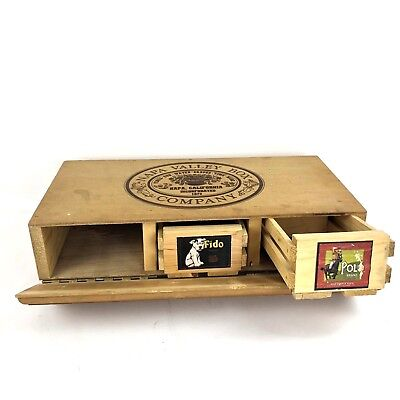 Napa Valley Box Company Wooden Hinged Cassette Holder with 2 Crates Fido Polo