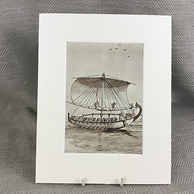 Vintage Art Deco Print Ancient Egyptian Nile Boat Wooden Ship Egypt