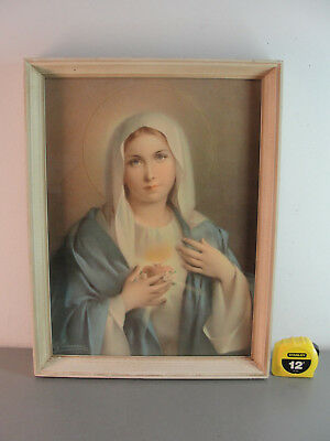 BLESSED MOTHER MARY of JESUS FRAMED ANTIQUE SACRED HEART RELIGIOUS COLOR PRINT