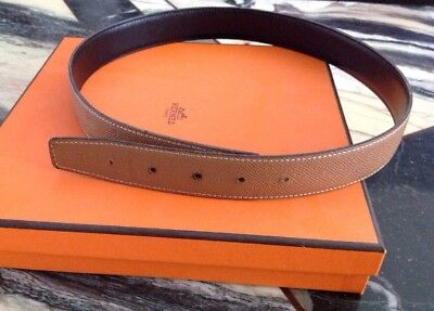 08d90708f40e AUTHENTIC HERMES REVERSIBLE Tan Cafe Belt with silver palladium ...