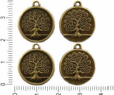 4pcs Antique Bronze Tone Flat Round Coin Pendant Tree Of Life Charms Bohemian Me