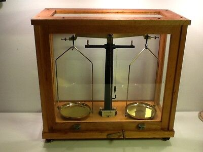 Philip Harris Antique Laboratory Scales, Oak Frame and Glass Cabinet+ weights