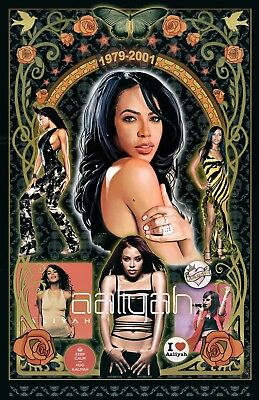"Aaliyah -11x17"" Collage poster -Vivid Colors - TRIBUTE - Signed by Artist"