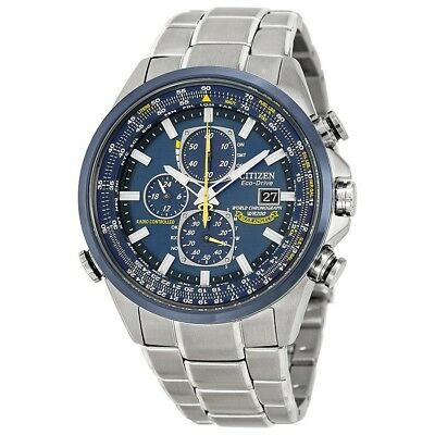 Brand New Citizen Eco Drive (At8020-54L) Blue Angels Chronograph Silver Watch