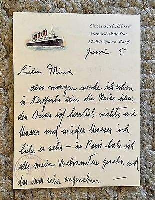Letter Cunard White Star Line Queen Mary Liner Maritime Antique Titanic Interest