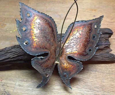 Mid Century Modern Jere Like Metal and Wood Brutalist Wall Sculpture Butterfly