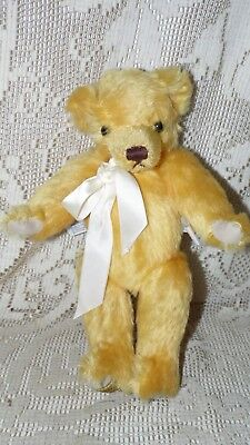 Vintage Golden Mohair Teddy Bear Glass Eyes Felt Pads Jointed Merrythought Nwt