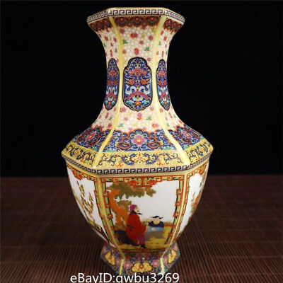 Chinese Porcelain Hand-painted color Enamel Square mouth Vase w Yongzheng Mark
