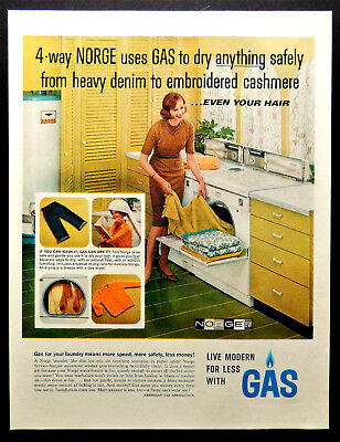 Vtg 1962 laundry Norge Dryer American Gas Association advertisement print ad art
