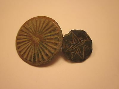 BUTTONS 17th CENTURY ANTIQUE BRONZE BUTTON SET OF 2 COLLECTION SEWING #712