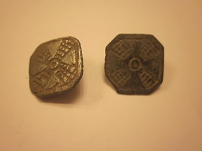 BUTTONS 17th CENTURY ANTIQUE BRONZE BUTTON SET OF 2 COLLECTION SEWING #714