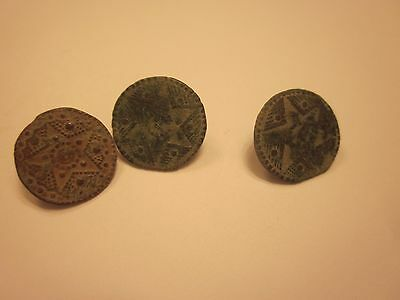 BUTTONS 17th CENTURY ANTIQUE BRONZE BUTTON SET OF 3 COLLECTION SEWING #719