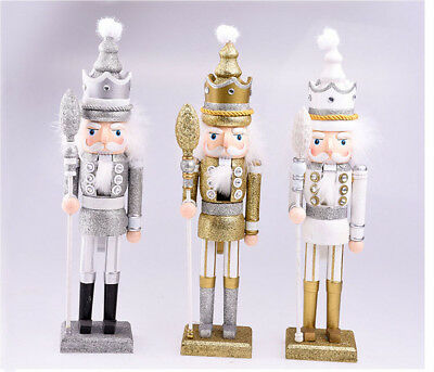 Christmas Glitter Wooden Walnut Soldiers Nutcracker Xmas Decoration Ornament