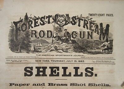 1883 Forest & Stream Rod & Gun Antique Hunting Journal, Firearms Ads