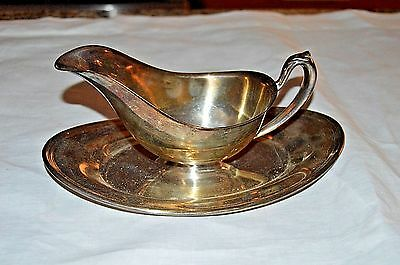 W S Blackington Gravy Sauce Boat Silverplated Attatched Underplate 1920s 1930s