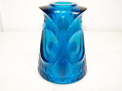 Vintage Viking Art Glass Blue Owl Candle Lamp Holder (Top Only )