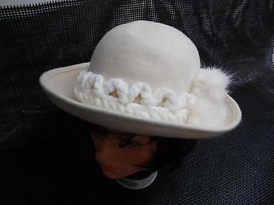 Old Vtg ZEBBIE-DO Women's Wool Hat Off White Fashion Accessories
