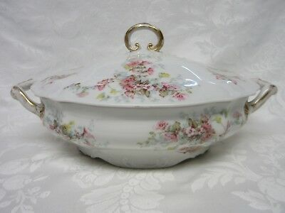 """Antique Wm. Guerin Co. Limoges France 11.5"""" Covered Vegetable Dish Pink Flowers"""