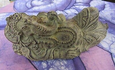 Rustic Antique Finish Concrete Lying Ganesha 20 cm Long Statue Home Decor