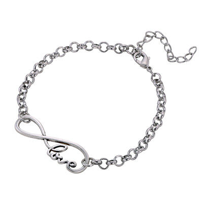 Silver Infinity Love Adjustable Link Chain Bracelet Birthday Gift For Girlfriend