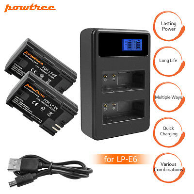LP-E6 Battery or LCD Dual Charger for Canon EOS 80D 6D 7D 70D  Mark II III FP