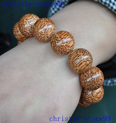Collect rare China Buddhism wood carving Buddha beads Bracelet statue
